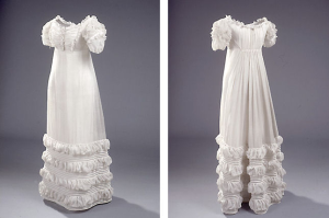 The wedding dress of Mrs. Peder Hjort, 1822, Denmark.
