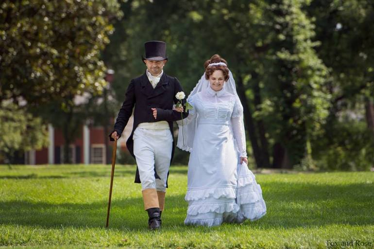 Major Croghan walking his daughter to the ceremony. This is my favorite shot of my outfit for the day! Image by Fox and Rose Photography