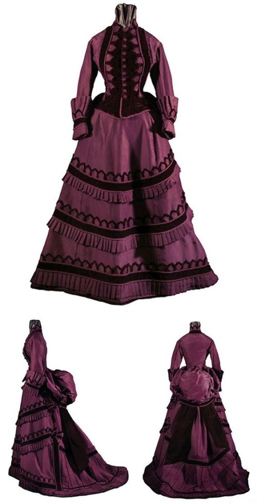 Day dress, American, ca. 1870-75. Silk faille and velvet.